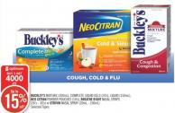 Buckley's Mixture (200ml) - Complete Liquid Gels (24's) - Liquid (150ml) - Neo Citran Powder Pouches (10's) - Breathe Right Nasal Strips (26's - 30's) or Otrivin Nasal Spray (20ml - 100ml)