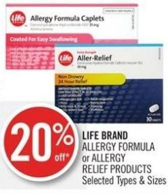 Life Brand Allergy Formula or Allergy Relief Products