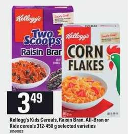 Kellogg's Kids Cereals - Raisin Bran - All-bran Or Kids Cereals 312-450 G