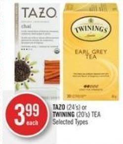 Tazo (24's) or Twining (20's) Tea