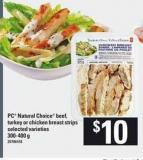 PC Natural Choice Beef - Turkey Or Chicken Breast Strips - 300-400 g