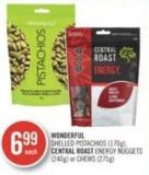 Wonderful Shelled Pistachios (170g) - Central Roast Energy Nuggets (240g) or Chews (275g)