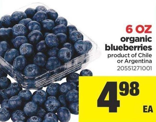 6 Oz Organic Blueberries Product Of Chile Or Argentina