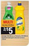 Sunlight - 740/950 mL Or Palmolive - 591/828 mL Liquid Dish Detergent