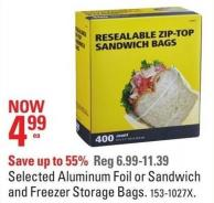 Selected Aluminum Foil or Sandwich and Freezer Storage Bags