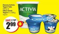 Danone Activia Yogurt Tubs 650 g or Oikos Greek Yogurt 4 X 100 g