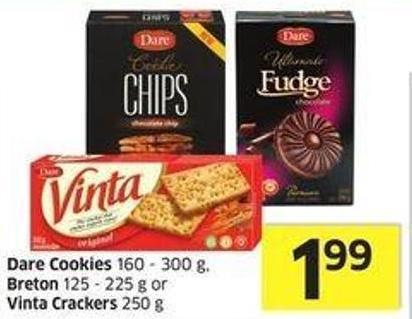 Dare Cookies 160 - 300 g - Breton 125 - 225 g or Vinta Crackers 250 g