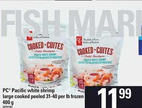 PC Pacific White Shrimp Large - Cooked Peeled 31-40 Per Lb - 400 G