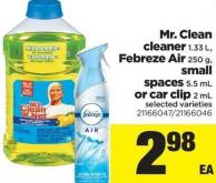 Mr. Clean Cleaner - 1.33 L - Febreze Air - 250 g - Small Spaces - 5.5 mL Or Car Clip - 2 mL