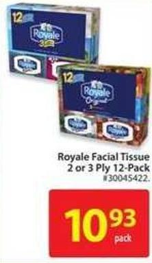 Royale Facial Tissue 2 or 3 Ply 12-pack