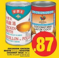 Swanson Chicken Broth - 413 mL or Rooster Coconut Milk - 398 mL