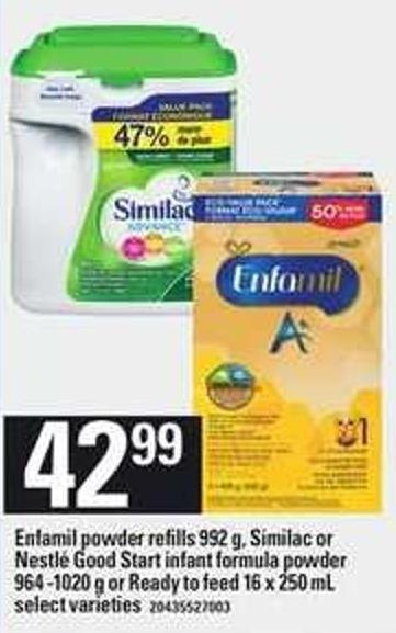Enfamil Powder Refills - 992 G - Similac Or Nestlé Good Start Infant Formula Powder - 964 -1020 G Or Ready To Feed - 16 X 250 Ml