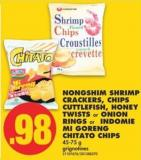 Nongshim Shrimp Crackers - Chips Cuttlefish - Honey Twists or Onion Rings or Indomie Mi Goreng Chitato Chips - 45-75 g