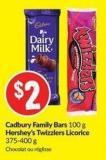 Cadbury Family Bars 100 g Hershey's Twizzlers Licorice 375-400 g