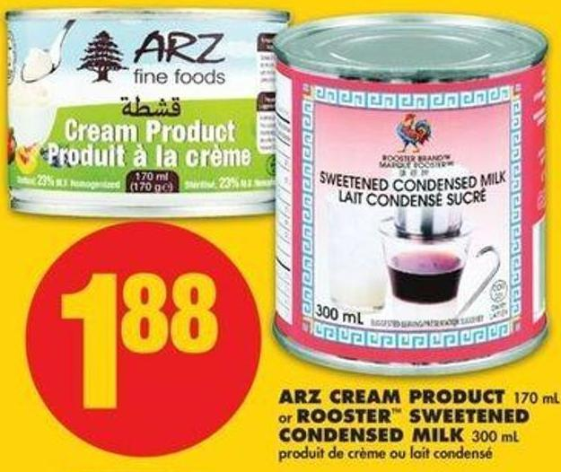 Arz Cream Product - 170 Or Rooster Sweetened Condensed Milk - 300 Ml
