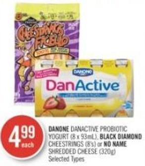 Danone Danactive Probiotic Yogurt (8 X 93ml) - Black Diamond Cheestrings (8's) or No Name Shredded Cheese (320g)