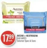 Aveeno or Neutrogena Duo Wipes