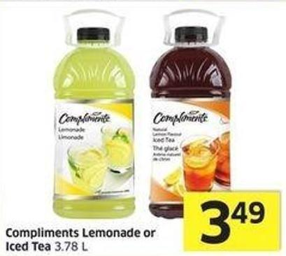 Compliments Lemonade or Iced Tea 3.78 L