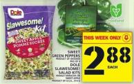 Sweet Green Peppers Or Dole Slawesome! Salad Kits
