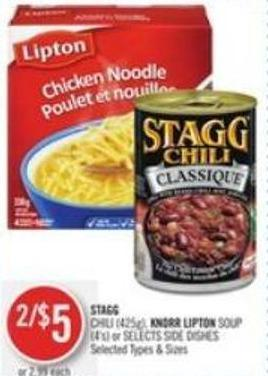 Stagg Chili (425g) - Knorr Lipton Soup (4's) or Selects Side Dishes