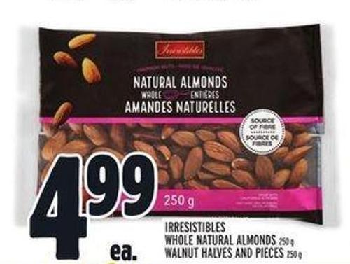 Irresistibles Whole Natural Almonds 250 g - Walnut Halves And Pieces 250 g