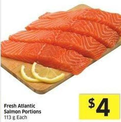 Fresh Atlantic Salmon Portions 113 g - Each