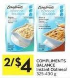 Compliments Balance Instant Oatmeal 325 - 430 g