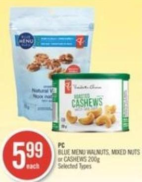 PC Blue Menu Walnuts - Mixed Nuts or Cashews 200g