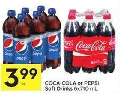 Coca-cola or Pepsi Soft Drinks 6x710 mL