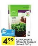 Compliments Organic Chopped Spinach - 4 Air Miles Bonus Miles