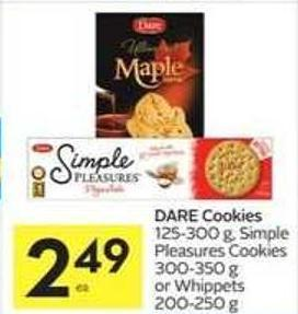 Dare Cookies 125-300 g - Simple Pleasures Cookies 300-350 g or Whippets 200-250 g
