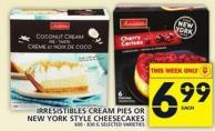 Irresistibles Cream Pies Or New York Style Cheesecakes