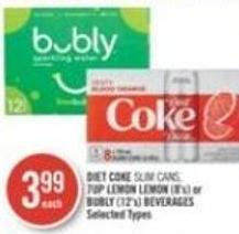Diet Coke Slim Cans - 7up Lemon Lemon (8's) or Bubly (12's) Beverages