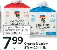 Organic Meadow Homogenized 3.8% Milk - 4 L