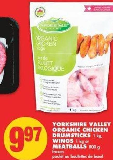 Yorkshire Valley Organic Chicken Drumsticks 1 Kg - Wings 1 Kg Or Meatballs 800 G