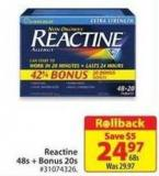 Reactine 48s+ Bonus 20s