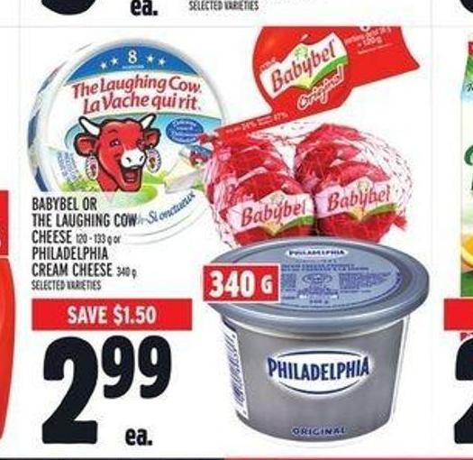 Babybel Or The Laughing Cow Cheese 120 - 133 g Or Philadelphia Cream Cheese 340 g