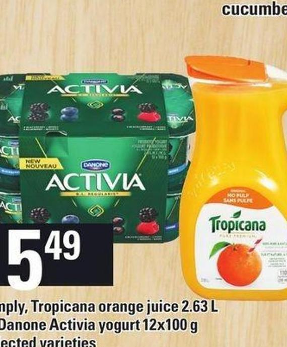 Simply - Tropicana Orange Juice 2.63 L Or Danone Activia Yogurt 12x100 G