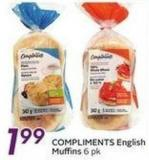 Compliments English Muffins 6 Pk