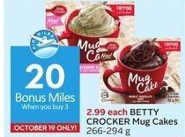 Betty Crocker Mug Cakes 266-294 g - 20 Air Miles Bonus Miles