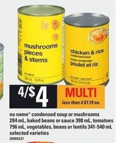 No Name Condensed Soup Or Mushrooms - 284 Ml - Baked Beans Or Sauce 398 Ml - Tomatoes - 796 Ml - Vegetables - Beans Or Lentils - 341-540 Ml