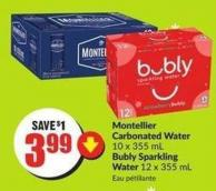 Montellier Carbonated Water 10 X 355 mL Bubly Sparkling Water 12 X 355 mL