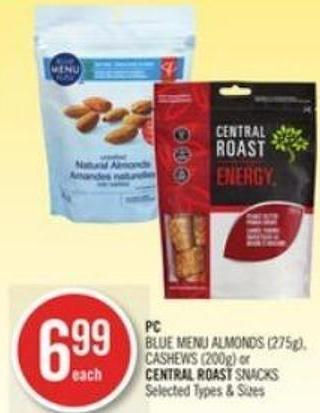 PC Blue Menu Almonds (275g) - Cashews (200g) or Central Roast Snacks