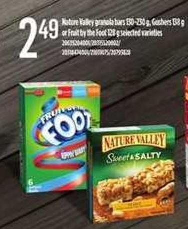 Nature Valley Granola Bars .130-230 G - Gushers - 138 G Or Fruit By The Foot 128 G