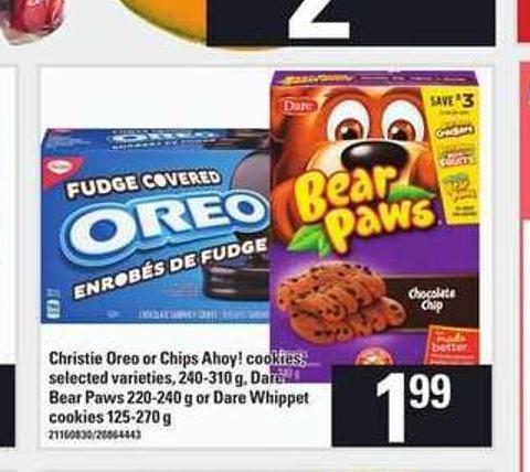 Christie Oreo Or Chips Ahoy! Cookies - 240-310 G - Dare Bear Paws - 220-240 G Or Dare Whippet Cookies - 125-270 G