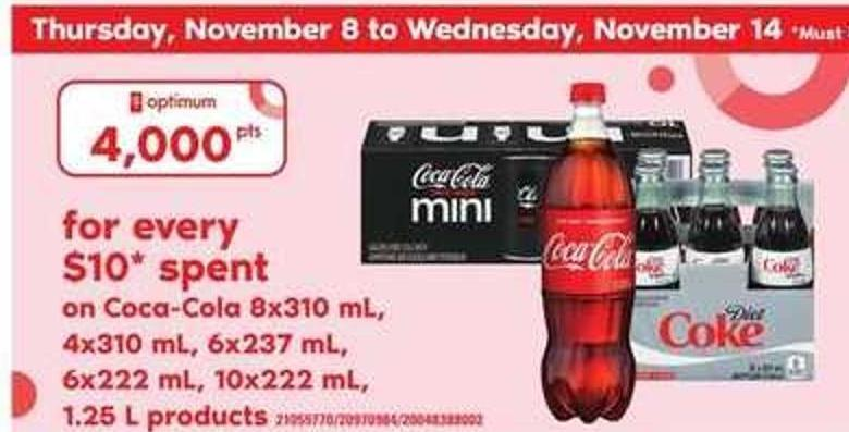 Coca-cola - 8x310 Ml - 4x310 Ml - 6x237 Ml - 6x222 Ml - 10x222 Ml - 1.25 L Products