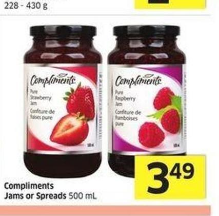 Compliments Jams or Spreads