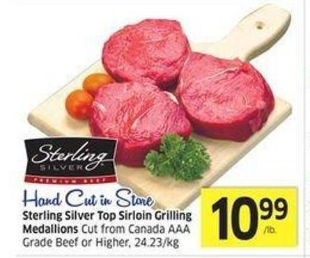 Sterling Silver Top Sirloin Grilling Medallions Cut From Canada Aaa Grade Beef or