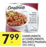 Compliments or Compliments Balance Meatballs 560-680 g