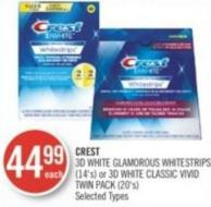 Crest 3D White Glamorous Whitestrips (14's) or 3D White Classic Vivid Twin Pack (20's)
